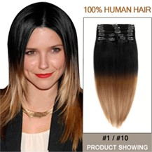 """18"""" Two Colors #1 And #10 Straight Ombre Hair Extensions"""