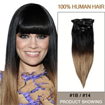 """18"""" Two Colors #1b And #14 Straight Ombre Hair Extensions"""