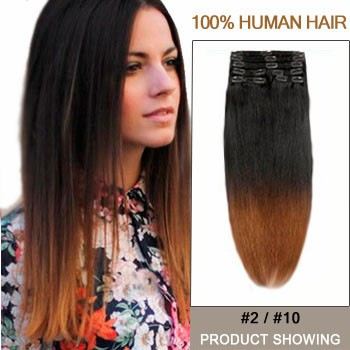 """18"""" Two Colors #2 And #10 Straight Ombre Hair Extensions"""