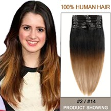 """18"""" Two Colors #2 And #14 Straight Ombre Hair Extensions"""