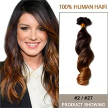 """18"""" Two Colors #2 And #27 Wavy Ombre Hair Extensions"""