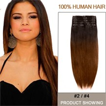 """18"""" Two Colors #2 And #4 Straight Ombre Hair Extensions"""