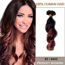 """18"""" Two Colors #2 And #443 Wavy Ombre Hair Extensions"""