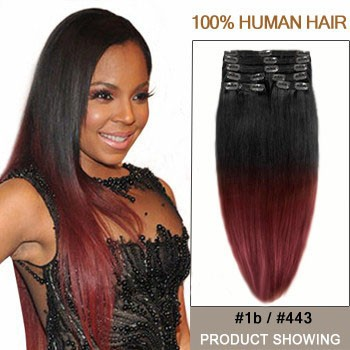 """20"""" Two Colors #1b And #443 Straight Ombre Hair Extensions"""