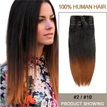 "20"" Two Colors #2 And #10 Straight Ombre Hair Extensions"