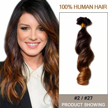 "20"" Two Colors #2 And #27 Wavy Ombre Hair Extensions"