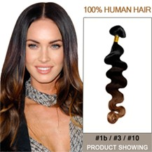 """22"""" Three Colors #1b And #3 And #10 Wavy Ombre Hair Extensions"""