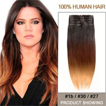 "22"" Three Colors #1b And #30 And #27 Ombre Hair Extensions"