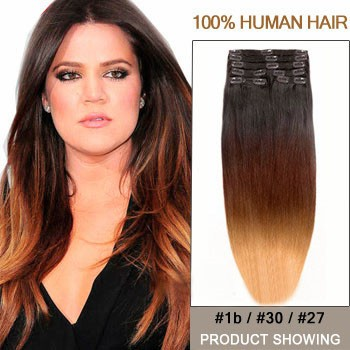 """22"""" Three Colors #1b And #30 And #27 Ombre Hair Extensions"""