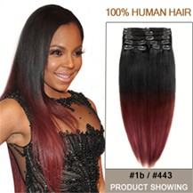 """22"""" Two Colors #1b And #443 Straight Ombre Hair Extensions"""
