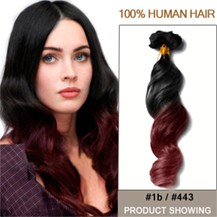 """22"""" Two Colors #1b And #443 Wavy Ombre Hair Extensions"""