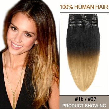 """24"""" Two Colors #1b And #27 Straight Ombre Hair Extensions"""