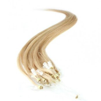 "16"" Ash Blonde (#24) 100S Micro Loop Remy Human Hair Extensions"