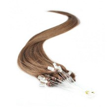 "16"" Ash Brown (#8) 100S Micro Loop Remy Human Hair Extensions"