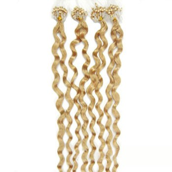 """16"""" Bleach Blonde (#613) 100S Curly Micro Loop Remy Human Hair Extensions"""