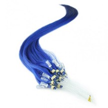 "16"" Blue 50S Micro Loop Remy Human Hair Extensions"
