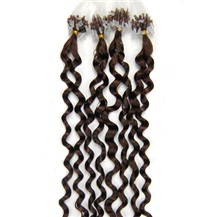 "16"" Chocolate Brown (#4) 100S Curly Micro Loop Remy Human Hair Extensions"