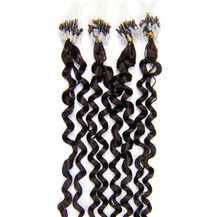 "16"" Dark Brown (#2) 50S Curly Micro Loop Remy Human Hair Extensions"