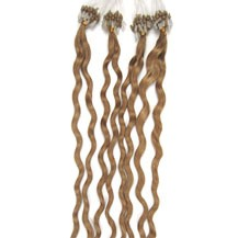 "16"" Golden Blonde (#16) 100S Curly Micro Loop Remy Human Hair Extensions"