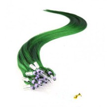 "16"" Green 100S Micro Loop Remy Human Hair Extensions"