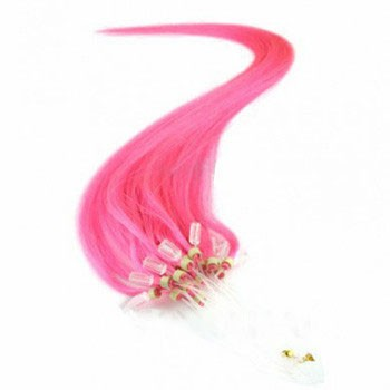 """16"""" Pink 100S Micro Loop Remy Human Hair Extensions"""