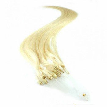 """16"""" White Blonde (#60) 100S Micro Loop Remy Human Hair Extensions"""