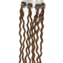 """28"""" Ash Brown (#8) 50S Curly Micro Loop Remy Human Hair Extensions"""