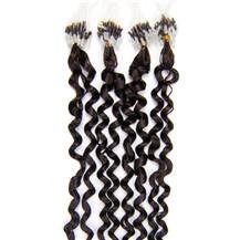 """28"""" Dark Brown (#2) 100S Curly Micro Loop Remy Human Hair Extensions"""