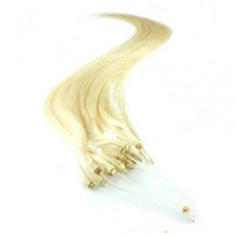 """28"""" White Blonde (#60) 50S Micro Loop Remy Human Hair Extensions"""