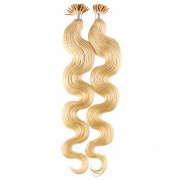 "16"" Ash Blonde (#24) 100S Wavy Stick Tip Human Hair Extensions"
