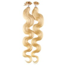 """16"""" Ash Blonde (#24) 50S Wavy Stick Tip Human Hair Extensions"""