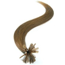 "16"" Ash Brown (#8) 50S Nail Tip Human Hair Extensions"