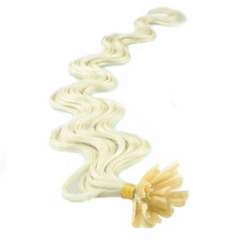 """16"""" Bleach Blonde (#613) 100S Wavy Nail Tip Human Hair Extensions"""
