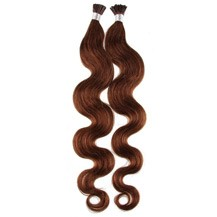 "16"" Chestnut Brown (#6) 100S Wavy Stick Tip Human Hair Extensions"