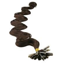 "16"" Chocolate Brown (#4) 100S Wavy Nail Tip Human Hair Extensions"