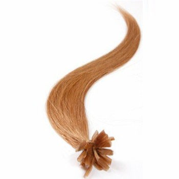 "16"" Golden Brown (#12) 100S Nail Tip Human Hair Extensions"