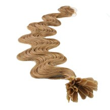 "16"" Golden Brown (#12) 100S Wavy Nail Tip Human Hair Extensions"