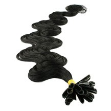 "16"" Jet Black (#1) 50S Wavy Nail Tip Human Hair Extensions"