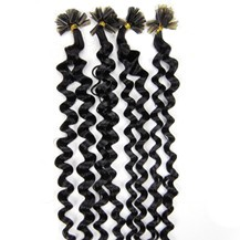 "16"" Off Black (#1b) 50S Curly Nail Tip Human Hair Extensions"