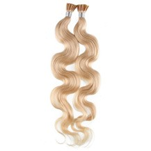 "18"" Bleach Blonde (#613) 100S Wavy Stick Tip Human Hair Extensions"