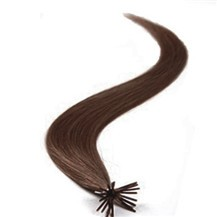"18"" Chestnut Brown (#6) 100S Stick Tip Human Hair Extensions"