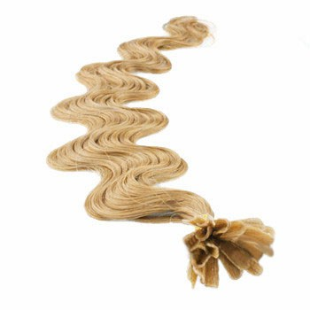 """18"""" Strawberry Blonde (#27) 100S Wavy Nail Tip Human Hair Extensions"""