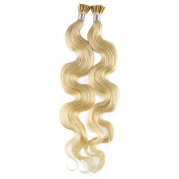 """18"""" White Blonde (#60) 100S Wavy Stick Tip Human Hair Extensions"""