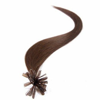 """20"""" Chocolate Brown (#4) 100S Nail Tip Human Hair Extensions"""