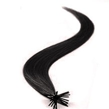 "20"" Off Black (#1b) 100S Stick Tip Human Hair Extensions"