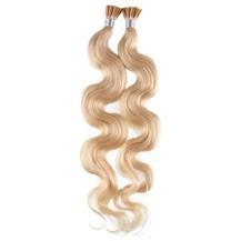 "22"" Bleach Blonde (#613) 50S Wavy Stick Tip Human Hair Extensions"