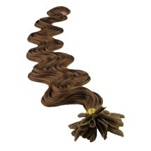 "22"" Chestnut Brown (#6) 100S Wavy Nail Tip Human Hair Extensions"