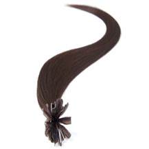 "22"" Dark Brown (#2) 100S Nail Tip Human Hair Extensions"