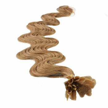 "22"" Golden Brown (#12) 50S Wavy Nail Tip Human Hair Extensions"