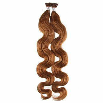 "22"" Golden Brown (#12) 50S Wavy Stick Tip Human Hair Extensions"